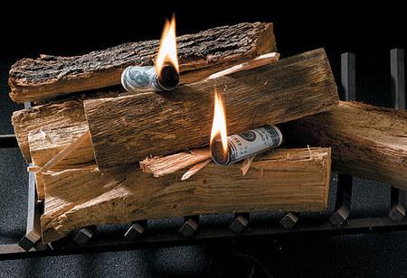 Деньги для расжигания огня